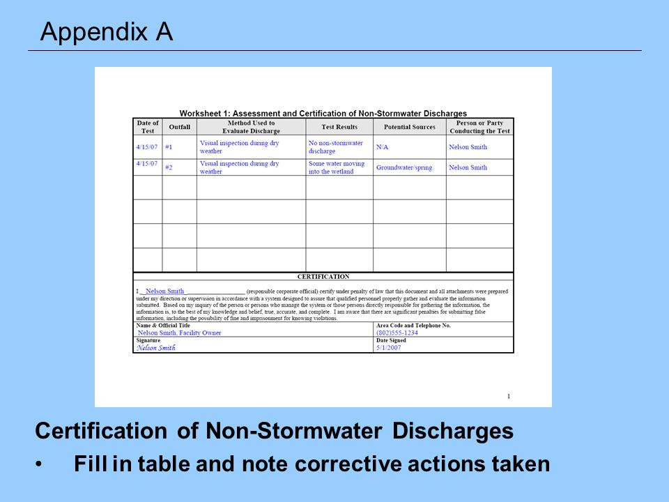 Certification of Non-Stormwater Discharges Fill in table and note corrective actions taken Appendix A