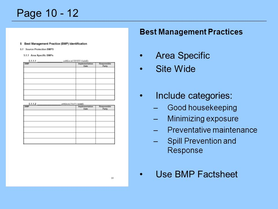 Best Management Practices Area Specific Site Wide Include categories: –Good housekeeping –Minimizing exposure –Preventative maintenance –Spill Prevent