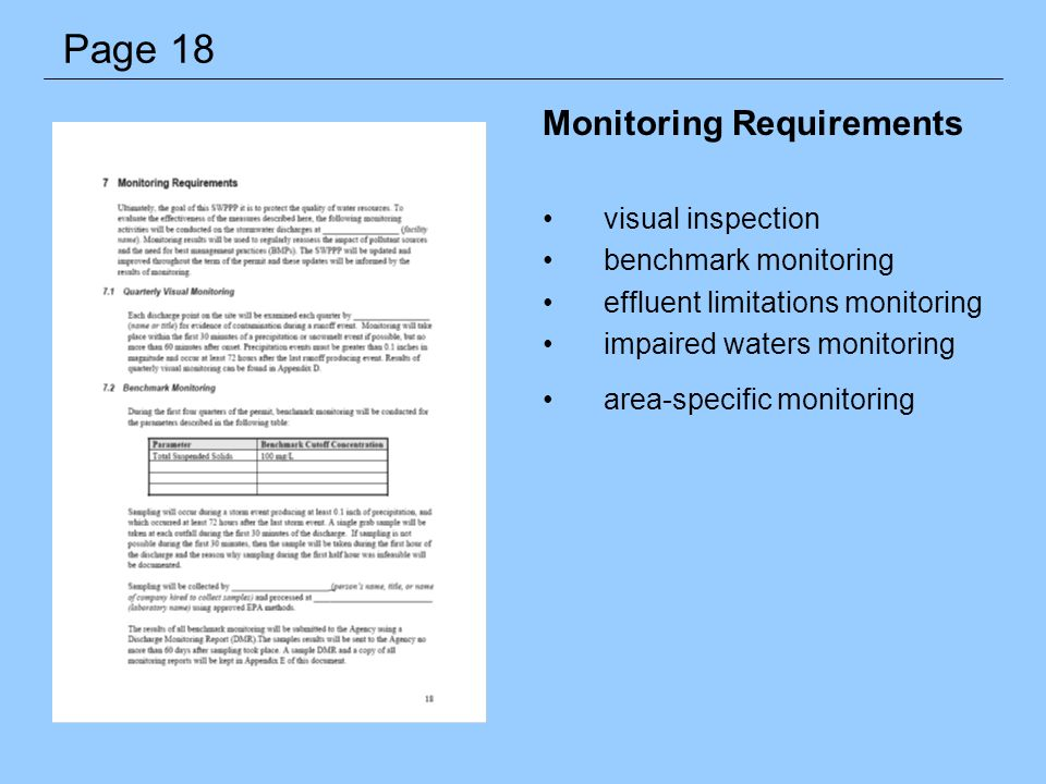 Monitoring Requirements visual inspection benchmark monitoring effluent limitations monitoring impaired waters monitoring area-specific monitoring Pag