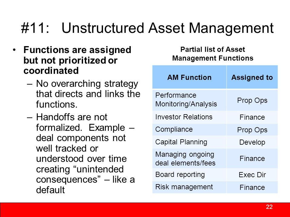 #10: Outdated/Insufficient Systems & Procedures 21 Opportunities –Upgrade/update during periods of slow growth –Determine what works best centrally and what works best at the site Use technology instead of FedEx to move documents –Invoices –Income Certs/Recerts –Establish company intranet for standard forms/updates –Scanners, pdas –Get help.