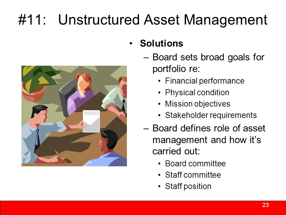 #11: Unstructured Asset Management Functions are assigned but not prioritized or coordinated –No overarching strategy that directs and links the functions.