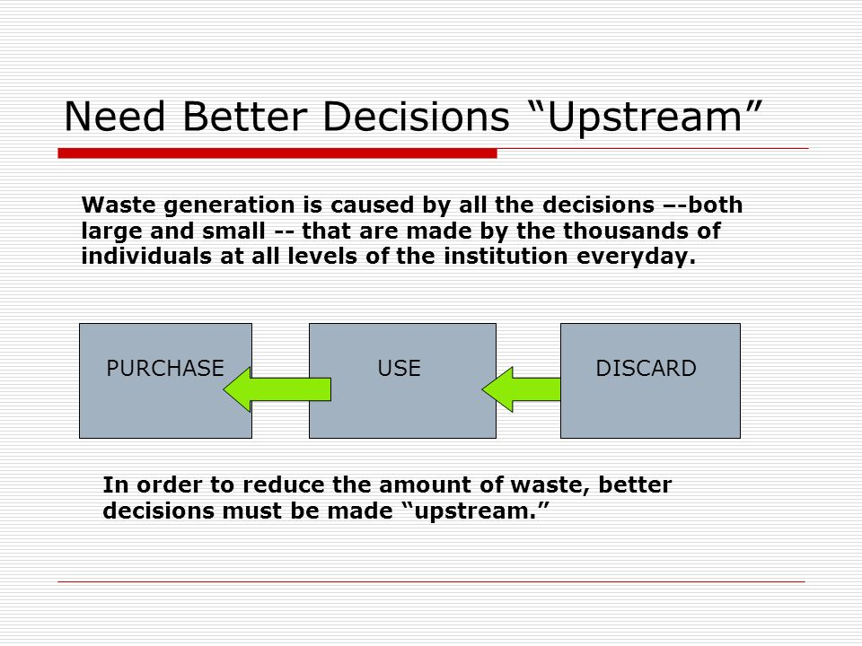 Need Better Decisions Upstream PURCHASEUSE In order to reduce the amount of waste, better decisions must be made upstream.