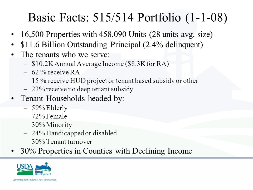 Basic Facts: 515/514 Portfolio (1-1-08) 16,500 Properties with 458,090 Units (28 units avg. size) $11.6 Billion Outstanding Principal (2.4% delinquent