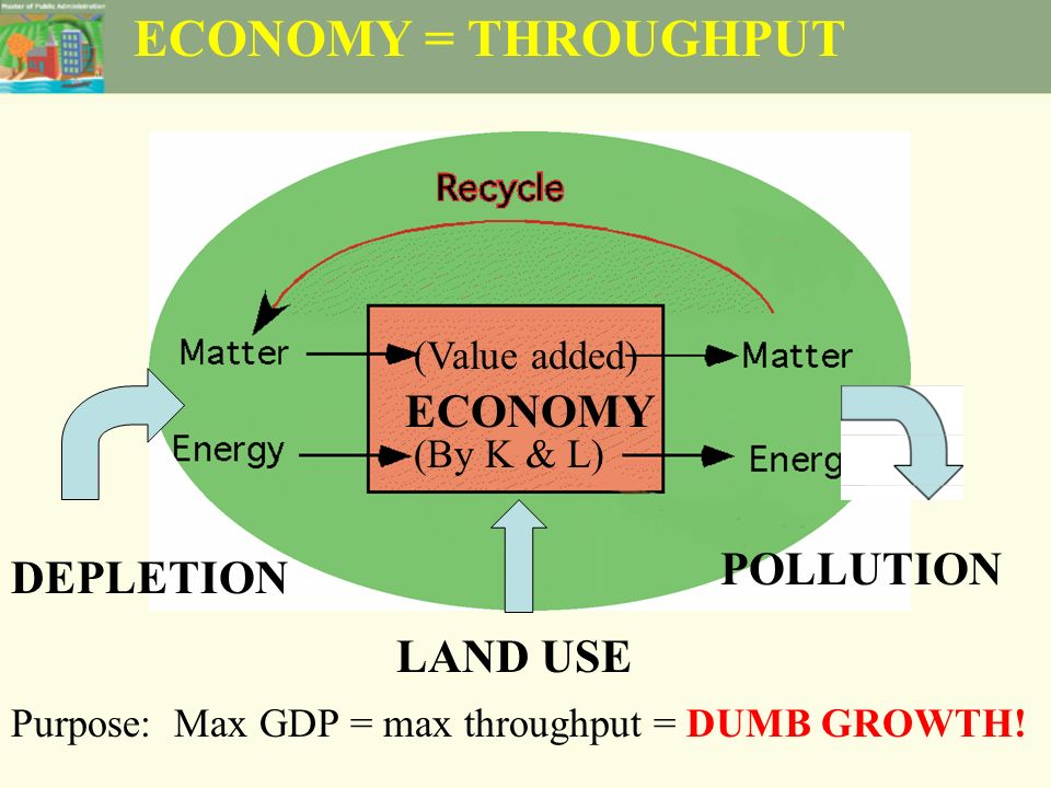 ECONOMY = THROUGHPUT ECONOMY LAND USE DEPLETION POLLUTION Purpose: Max GDP = max throughput = DUMB GROWTH.