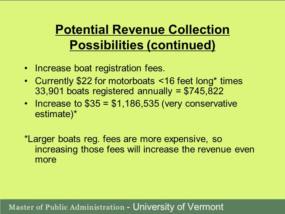 Potential Revenue Collection Possibilities (continued) Increase boat registration fees.