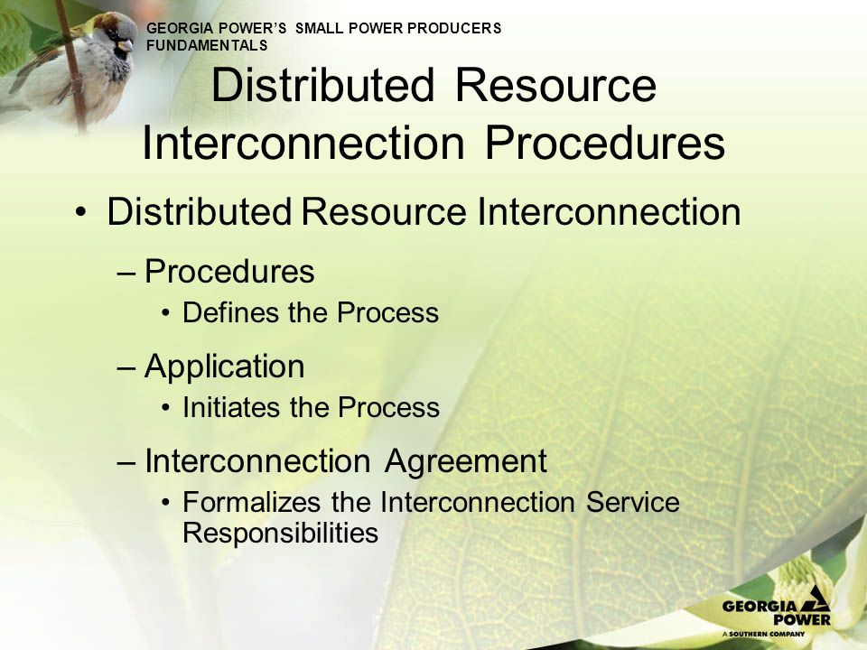GEORGIA POWERS SMALL POWER PRODUCERS FUNDAMENTALS Distributed Resource Interconnection Procedures Interconnection Procedures –Scoping Meeting (Optional) To make sure we understand the application, share any previous applicable studies, and to determine if a feasibility study is necessary.