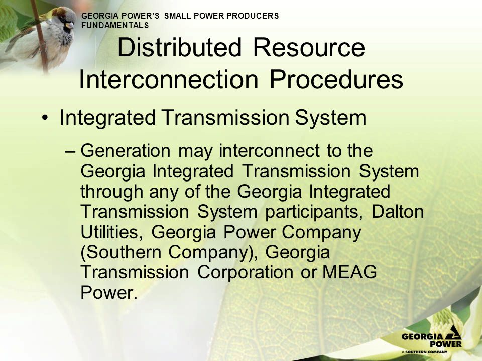 GEORGIA POWERS SMALL POWER PRODUCERS FUNDAMENTALS Distributed Resource Interconnection Procedures Exporting generators wishing to interconnect with Georgia Power (Southern Company) should contact: Terry Coggins at 205-257-5514.