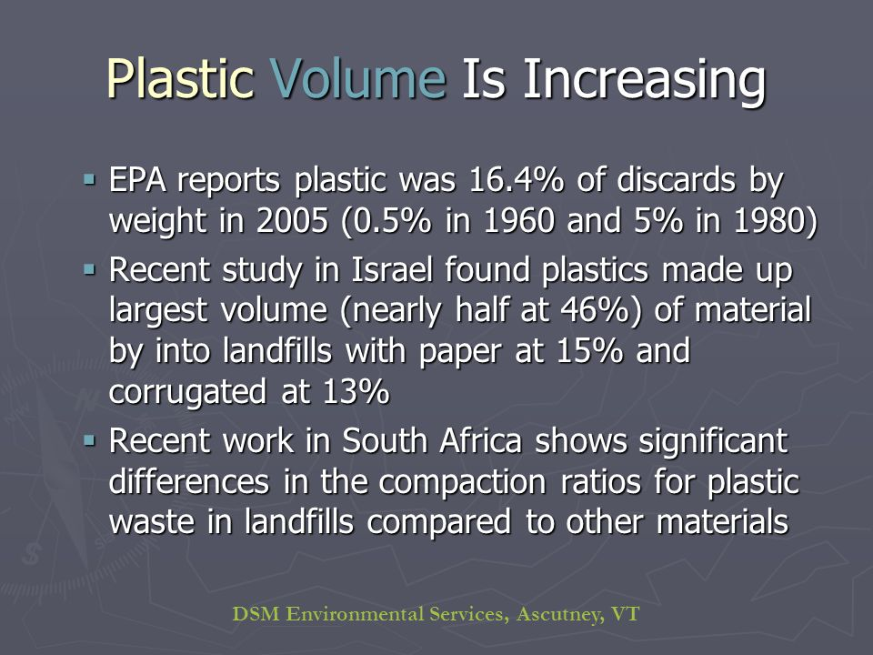 DSM Environmental Services, Ascutney, VT Plastic Volume Is Increasing EPA reports plastic was 16.4% of discards by weight in 2005 (0.5% in 1960 and 5% in 1980) EPA reports plastic was 16.4% of discards by weight in 2005 (0.5% in 1960 and 5% in 1980) Recent study in Israel found plastics made up largest volume (nearly half at 46%) of material by into landfills with paper at 15% and corrugated at 13% Recent study in Israel found plastics made up largest volume (nearly half at 46%) of material by into landfills with paper at 15% and corrugated at 13% Recent work in South Africa shows significant differences in the compaction ratios for plastic waste in landfills compared to other materials Recent work in South Africa shows significant differences in the compaction ratios for plastic waste in landfills compared to other materials