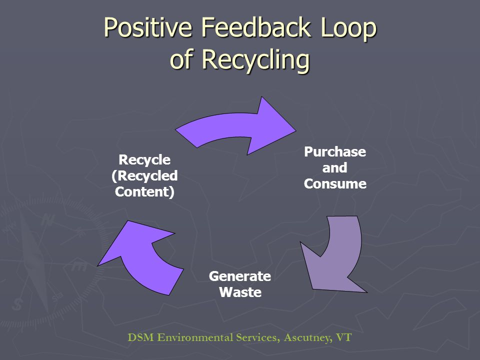 DSM Environmental Services, Ascutney, VT Positive Feedback Loop of Recycling Purchase and Consume Generate Waste Recycle (Recycled Content)