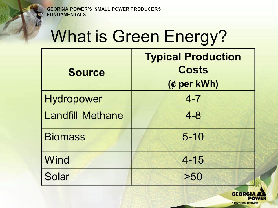 GEORGIA POWERS SMALL POWER PRODUCERS FUNDAMENTALS What is Green Energy? Source Typical Production Costs (¢ per kWh) Hydropower4-7 Landfill Methane4-8