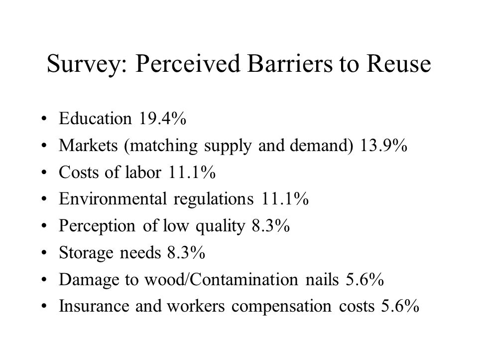 Survey: Perceived Barriers to Reuse Education 19.4% Markets (matching supply and demand) 13.9% Costs of labor 11.1% Environmental regulations 11.1% Perception of low quality 8.3% Storage needs 8.3% Damage to wood/Contamination nails 5.6% Insurance and workers compensation costs 5.6%