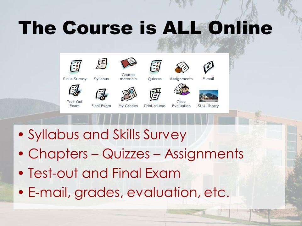 The Course is ALL Online Syllabus and Skills Survey Chapters – Quizzes – Assignments Test-out and Final Exam E-mail, grades, evaluation, etc.