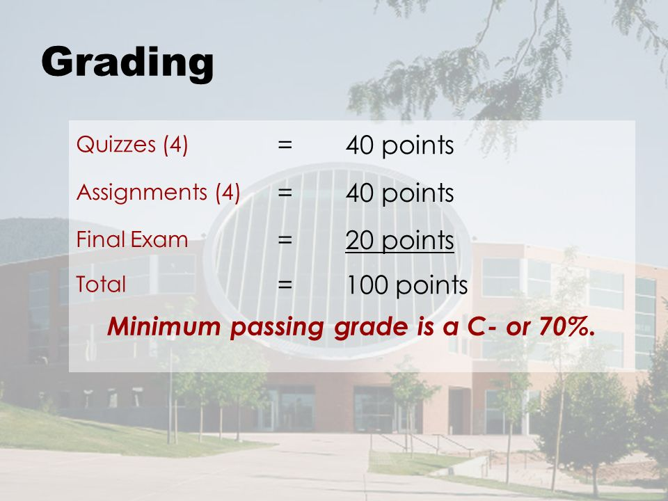 Grading Quizzes (4) =40 points Assignments (4) =40 points Final Exam =20 points Total =100 points Minimum passing grade is a C- or 70%.