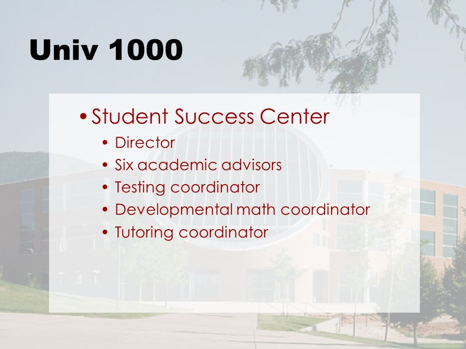 Univ 1000 Student Success Center Director Six academic advisors Testing coordinator Developmental math coordinator Tutoring coordinator