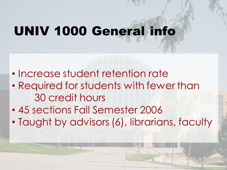 UNIV 1000 General info Increase student retention rate Required for students with fewer than 30 credit hours 45 sections Fall Semester 2006 Taught by advisors (6), librarians, faculty