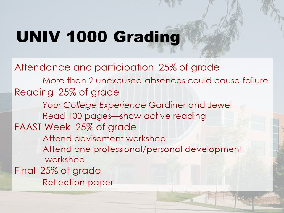 UNIV 1000 Grading Attendance and participation 25% of grade More than 2 unexcused absences could cause failure Reading 25% of grade Your College Experience Gardiner and Jewel Read 100 pagesshow active reading FAAST Week 25% of grade Attend advisement workshop Attend one professional/personal development workshop Final 25% of grade Reflection paper