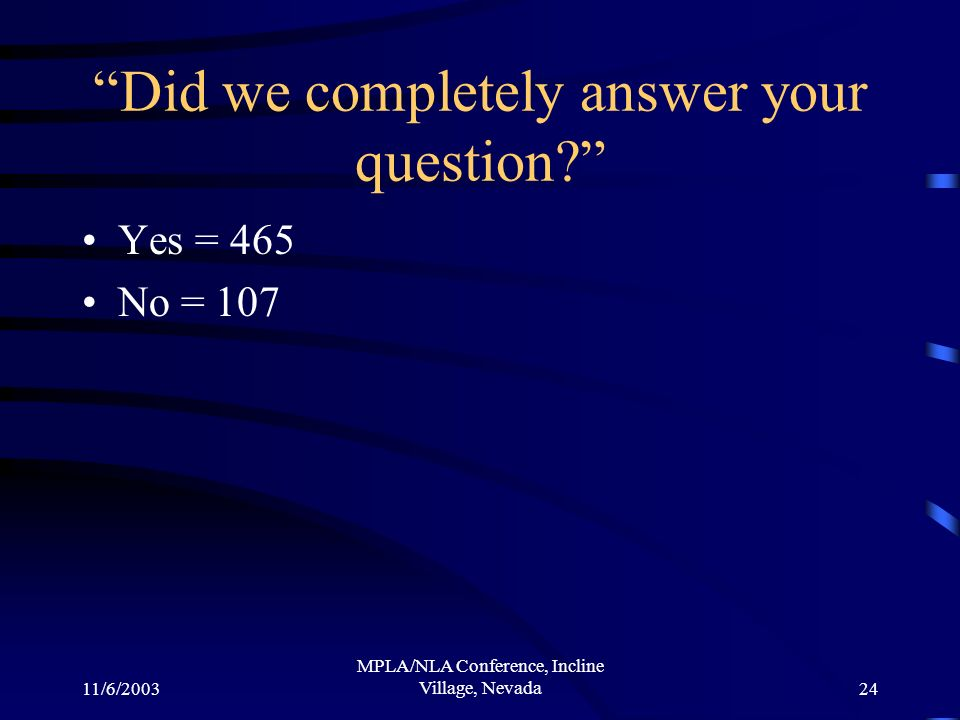 11/6/2003 MPLA/NLA Conference, Incline Village, Nevada24 Did we completely answer your question? Yes = 465 No = 107