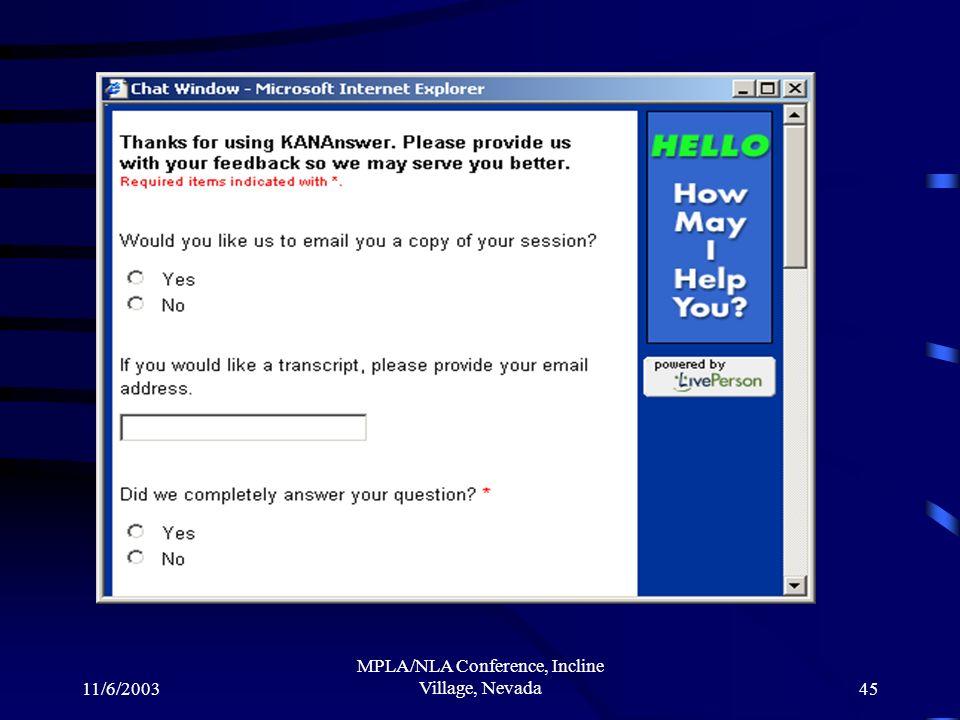 11/6/2003 MPLA/NLA Conference, Incline Village, Nevada45
