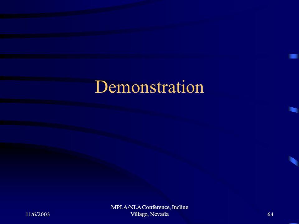 11/6/2003 MPLA/NLA Conference, Incline Village, Nevada64 Demonstration