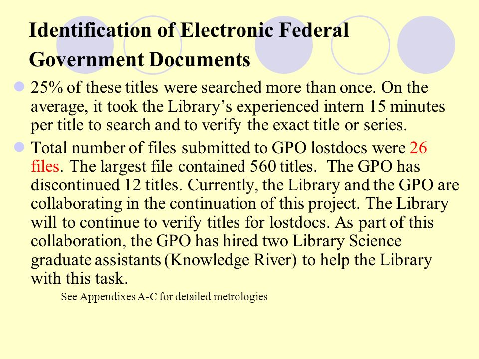Identification of Electronic Federal Government Documents 25% of these titles were searched more than once.