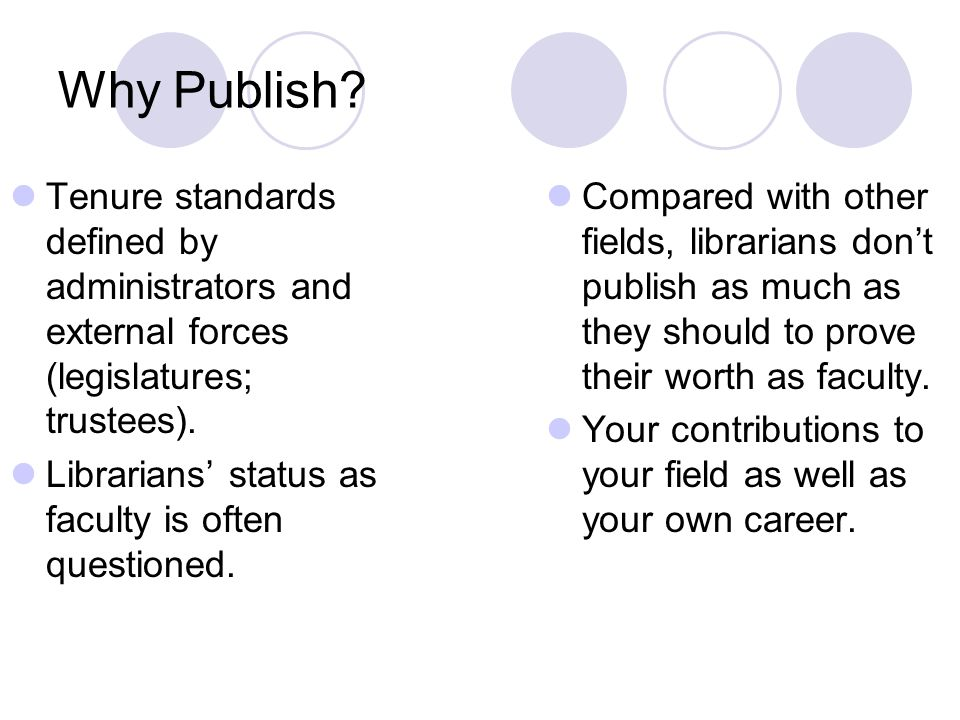 Why Publish.Without publication, it is as if research does not exist.