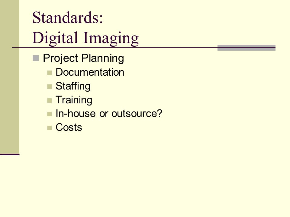 Standards: Digital Imaging Project Planning Documentation Staffing Training In-house or outsource? Costs