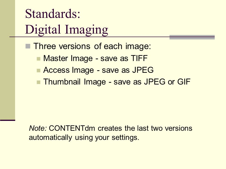Standards: Digital Imaging Three versions of each image: Master Image - save as TIFF Access Image - save as JPEG Thumbnail Image - save as JPEG or GIF