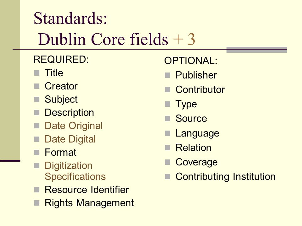 Standards: Dublin Core fields + 3 REQUIRED: Title Creator Subject Description Date Original Date Digital Format Digitization Specifications Resource I