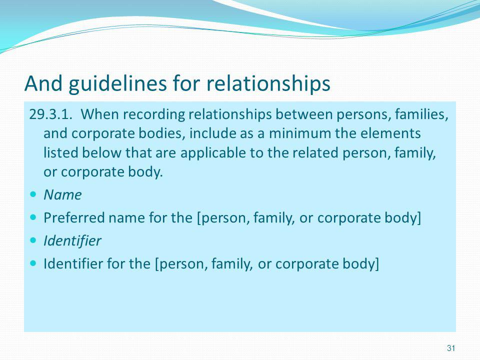 And guidelines for relationships 29.3.1.