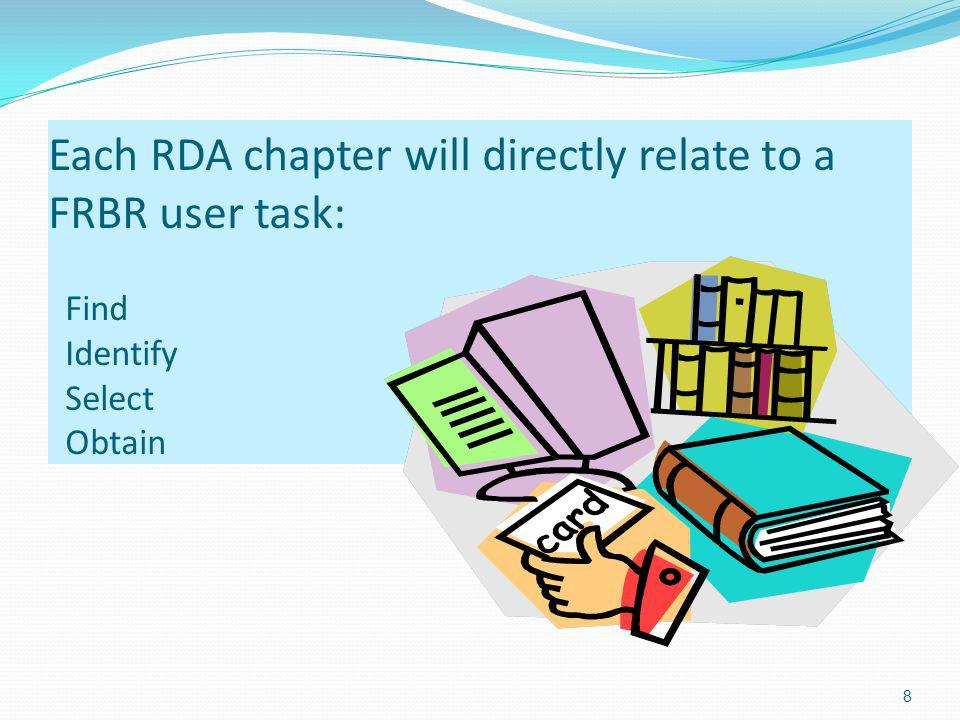 Each RDA chapter will directly relate to a FRBR user task: Find Identify Select Obtain 8
