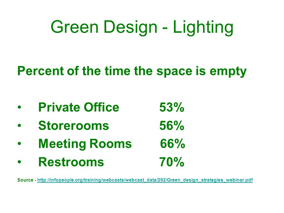Green Design - Lighting Percent of the time the space is empty Private Office 53% Storerooms56% Meeting Rooms 66% Restrooms70% Source - http://infopeo