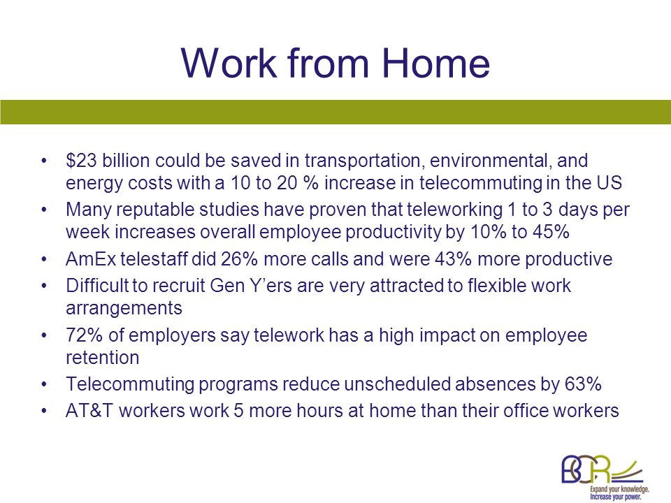Work from Home $23 billion could be saved in transportation, environmental, and energy costs with a 10 to 20 % increase in telecommuting in the US Man