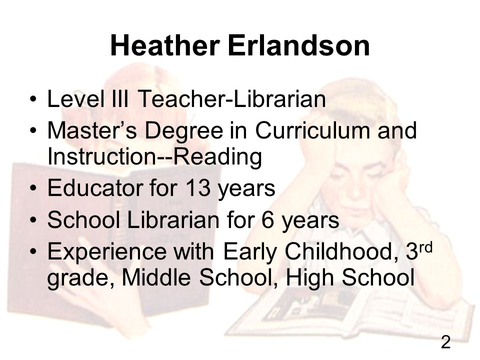 Building Relationships with Families Through the School Library Heather Erlandson Bloomfield Early Childhood Center 2007