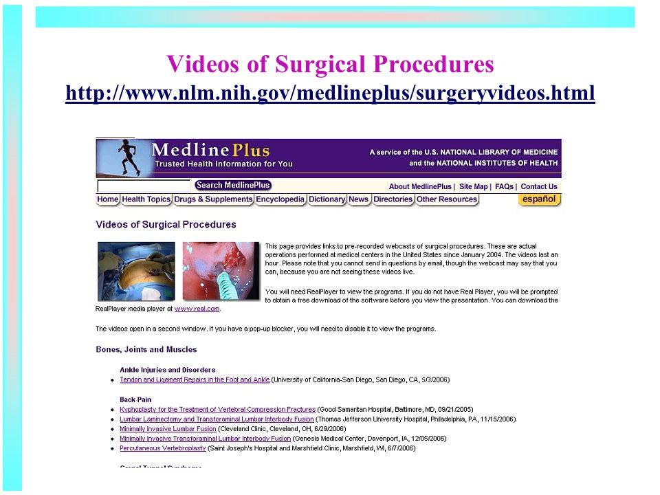 Videos of Surgical Procedures http://www.nlm.nih.gov/medlineplus/surgeryvideos.html http://www.nlm.nih.gov/medlineplus/surgeryvideos.html