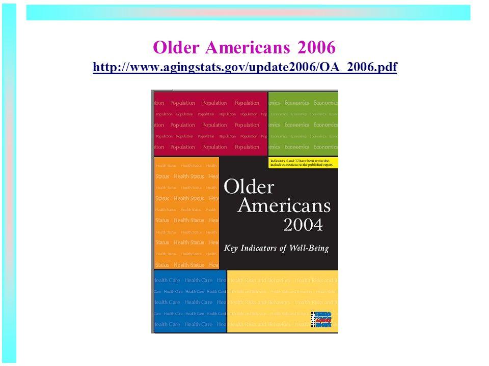 Older Americans 2006 http://www.agingstats.gov/update2006/OA_2006.pdf http://www.agingstats.gov/update2006/OA_2006.pdf