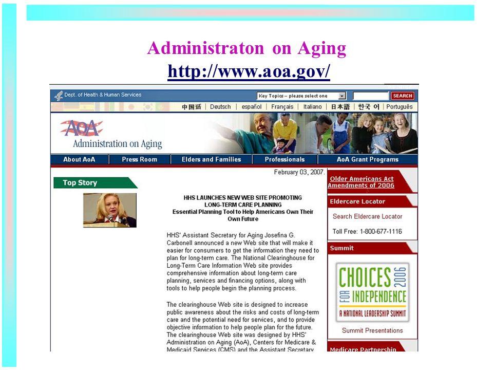 Administraton on Aging http://www.aoa.gov/http://www.aoa.gov/