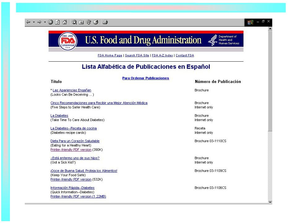 Agency Publications -- FDA