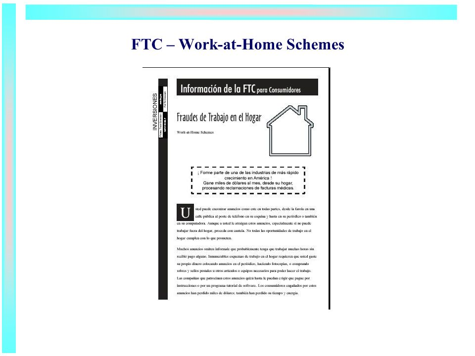 FTC – Work-at-Home Schemes