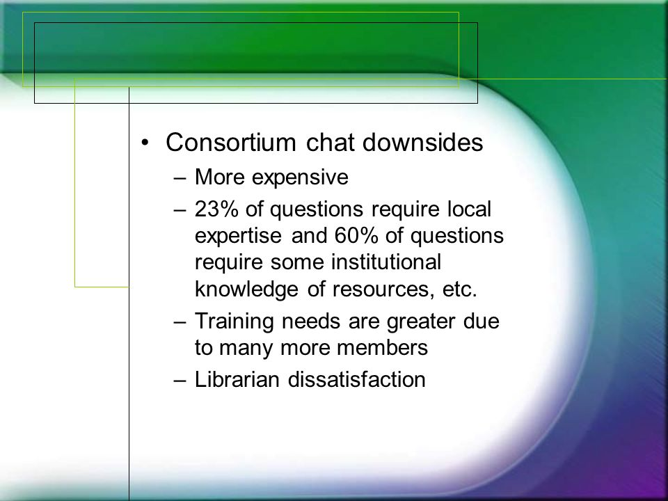 Consortium chat downsides –More expensive –23% of questions require local expertise and 60% of questions require some institutional knowledge of resources, etc.