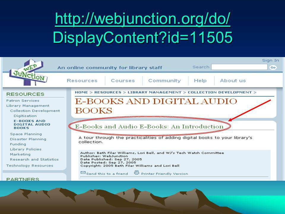 Audio Book Sources OverDrive/Digital Library Reserve Playaway Audible.com NetLibrary Simply Audiobooks Etc.