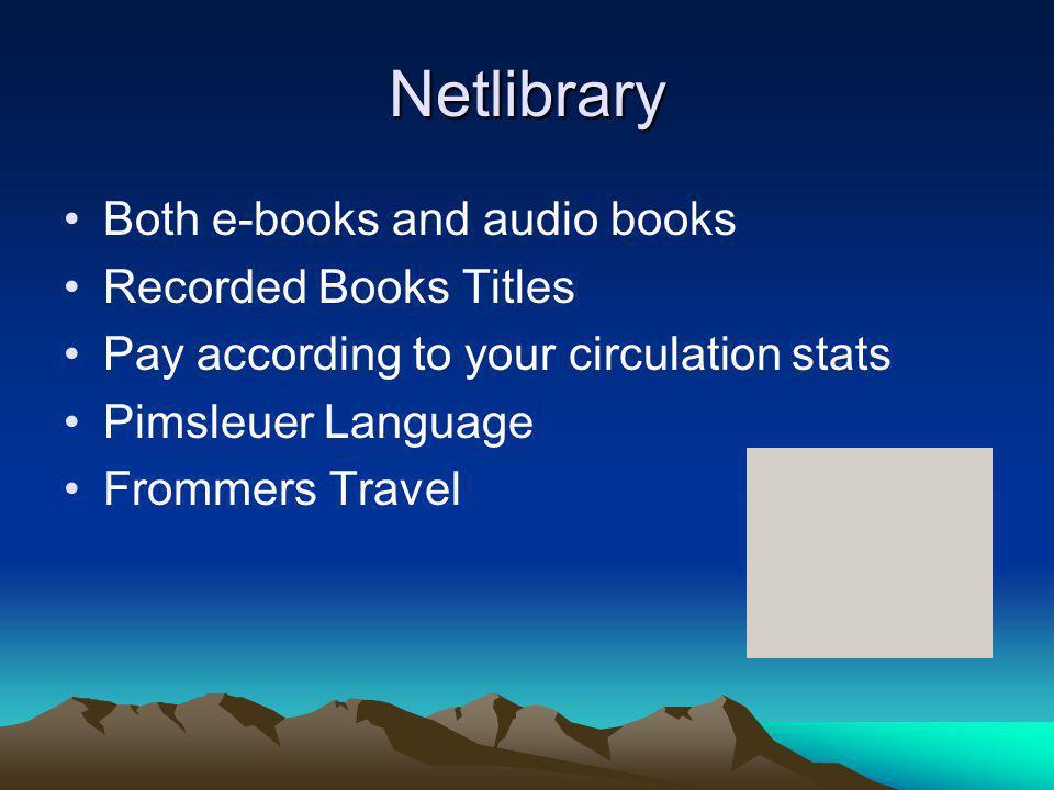 OverDrive/ Digital Library Reserve http://overdrive.com/ http://www.dlrinc.com/