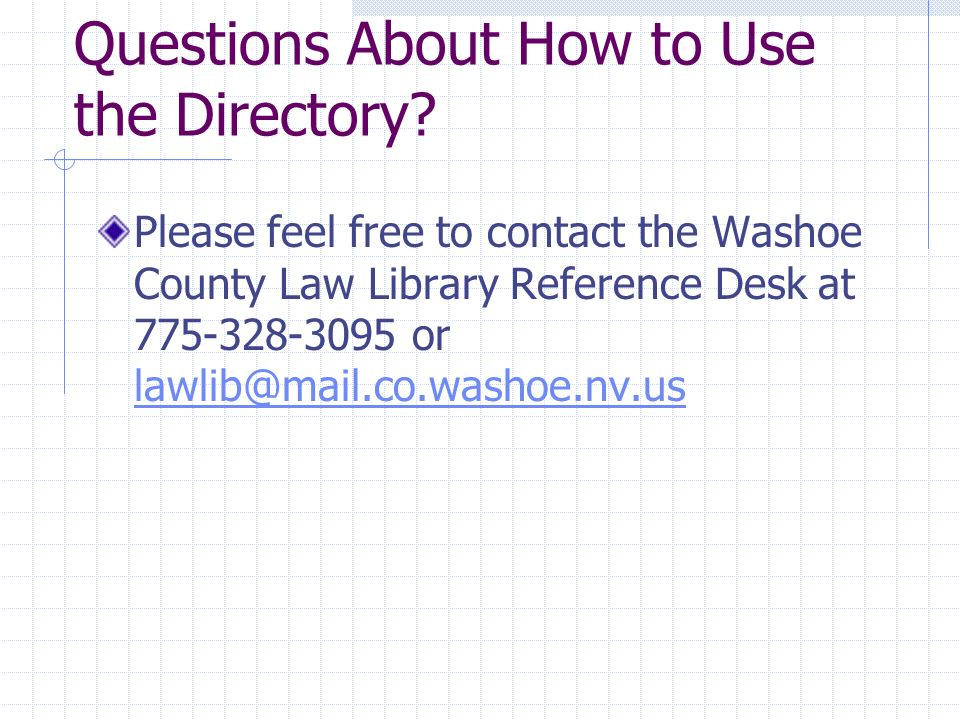 Questions About How to Use the Directory.
