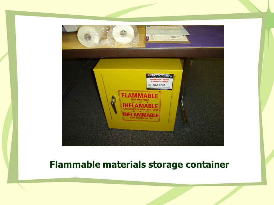 Flammable materials storage container
