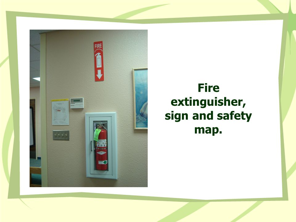 Fire extinguisher, sign and safety map.