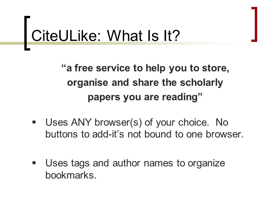CiteULike: What Is It.