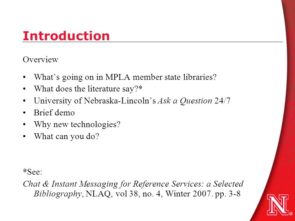 Introduction Overview Whats going on in MPLA member state libraries.