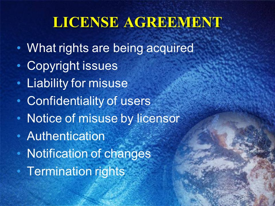 LICENSE AGREEMENT What rights are being acquired Copyright issues Liability for misuse Confidentiality of users Notice of misuse by licensor Authentication Notification of changes Termination rights