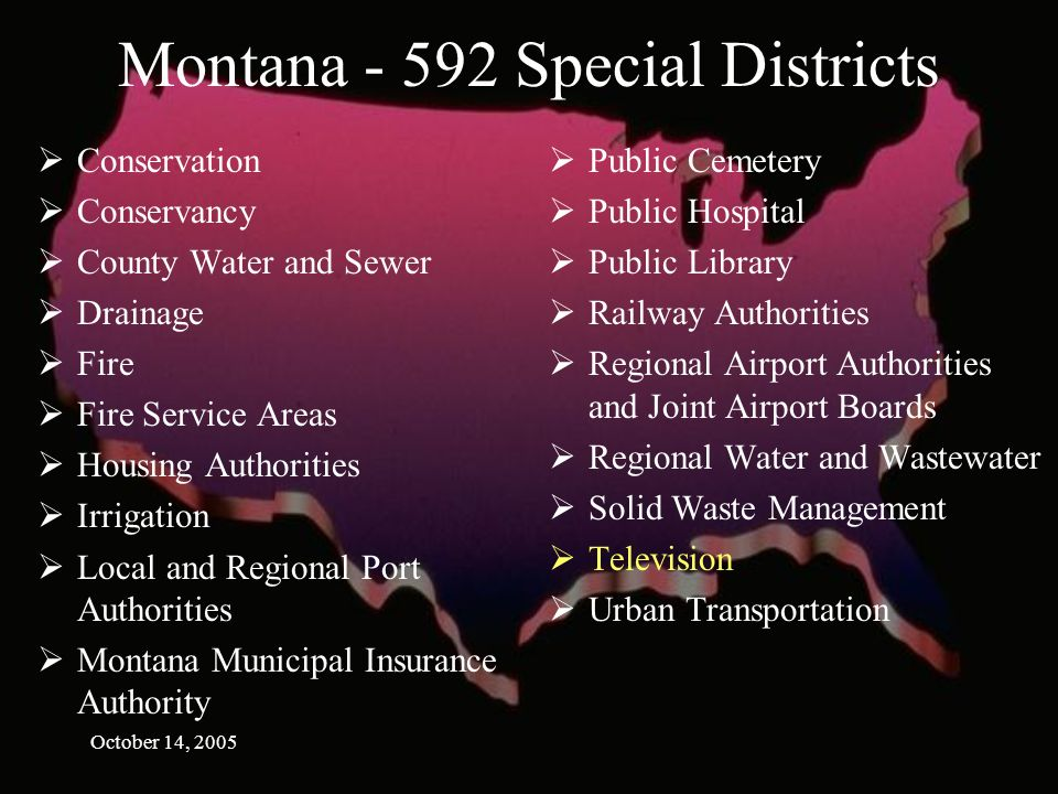 October 14, 2005 Montana Special Districts Conservation Conservancy County Water and Sewer Drainage Fire Fire Service Areas Housing Authorities Irrigation Local and Regional Port Authorities Montana Municipal Insurance Authority Public Cemetery Public Hospital Public Library Railway Authorities Regional Airport Authorities and Joint Airport Boards Regional Water and Wastewater Solid Waste Management Television Urban Transportation