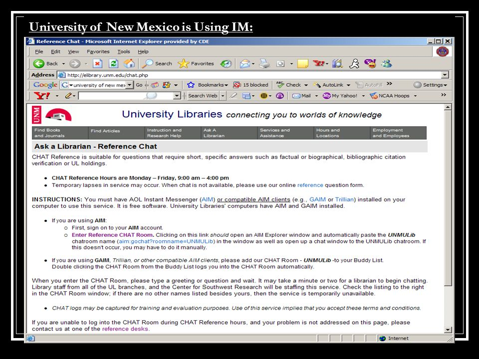 University of New Mexico is Using IM: