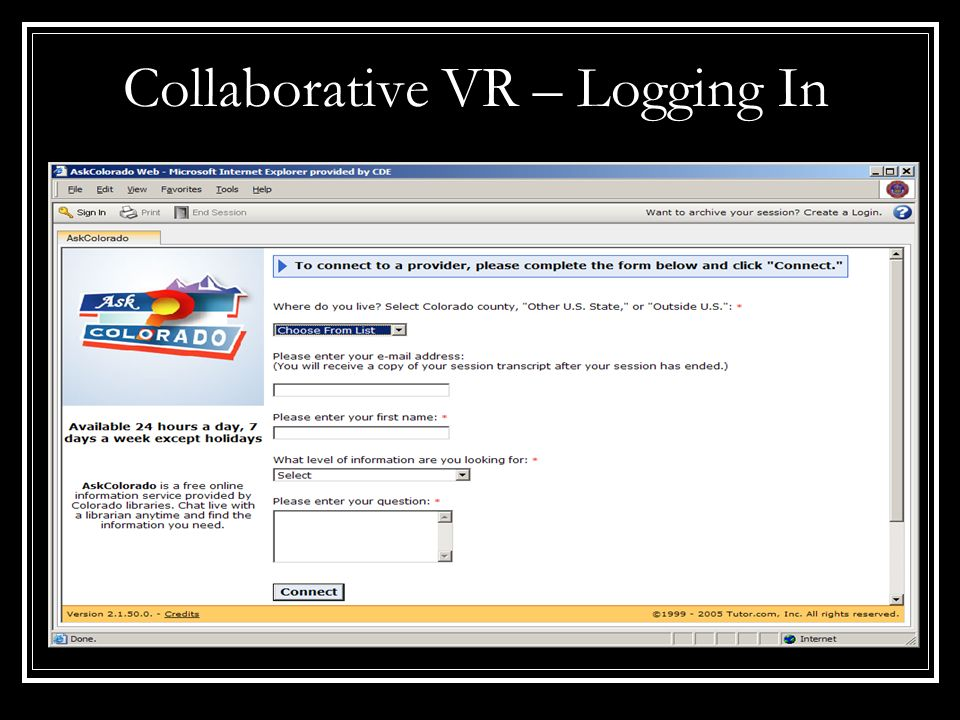 Collaborative VR – Logging In